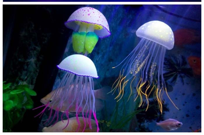 Fish Tank Fluorescence Decorations Buy Box Fake Jellyfish Aquarium